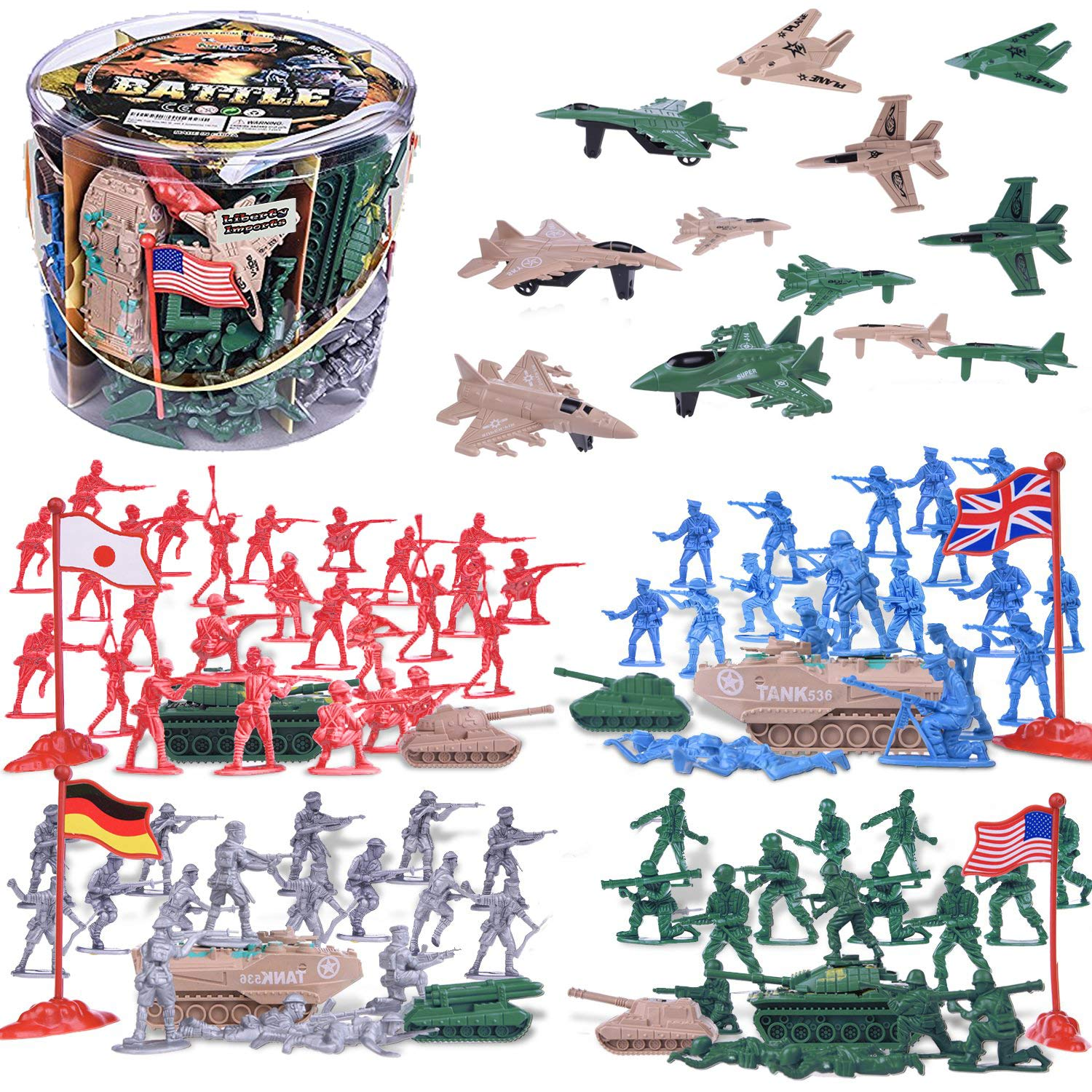 Allied powers soldiers clipart banner free library Liberty Imports Army Men Military Action Figures Bucket Playset -  124-Pieces World War II Toy Soldiers Combat Special Forces (Soldiers and  Vehicles) banner free library