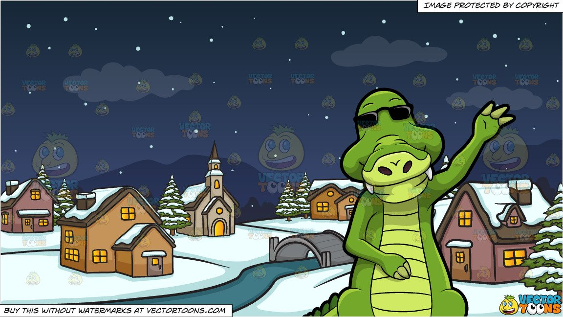 Alligator clipart winter banner library stock Arthur The Alligator Waving Hello and Winter Night In A Small Town  Background banner library stock
