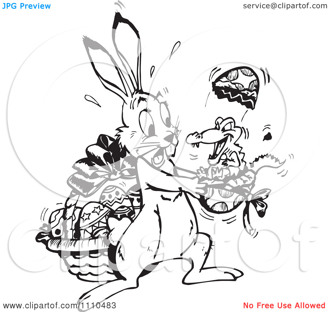 Alligator easter egg clipart graphic black and white download Clipart Black And White Easter Bunny Holding A Crocodile Hatching ... graphic black and white download