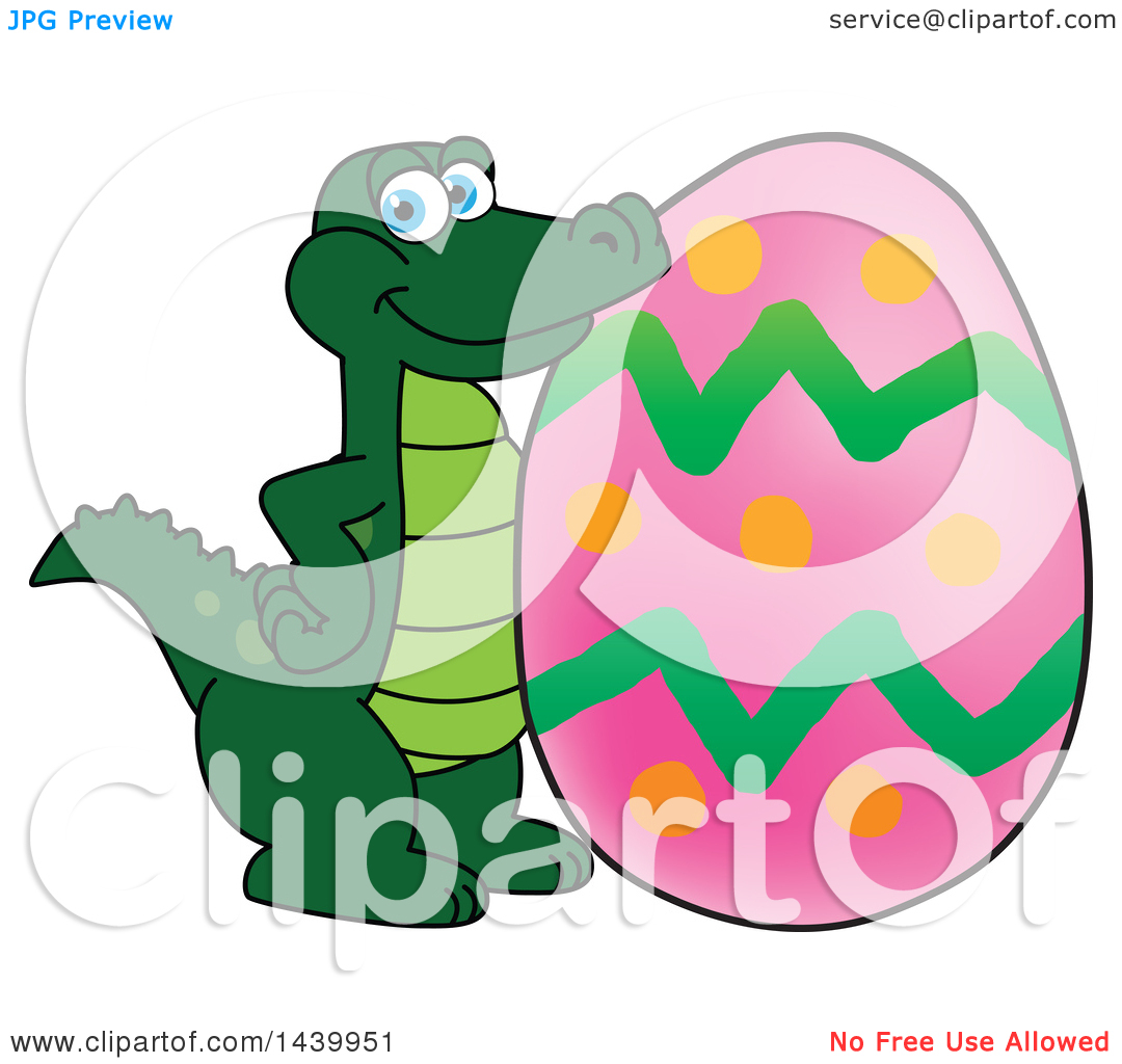 Alligator easter egg clipart svg freeuse Clipart of a Gator School Mascot Character with an Easter Egg ... svg freeuse