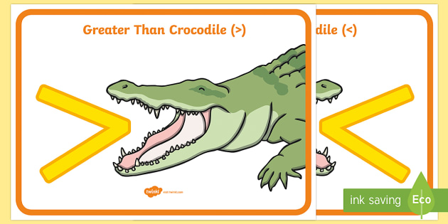 Alligator greater than less than chomp clipart clip free stock FREE! - Greater Than Less Than Crocodile Signs Display Poster clip free stock