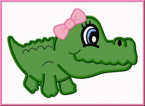 Alligator head clipart with a tongue sticking out graphic freeuse download cute alligator embroidery designs   Cute Girl Alligator 1 Digitized ... graphic freeuse download