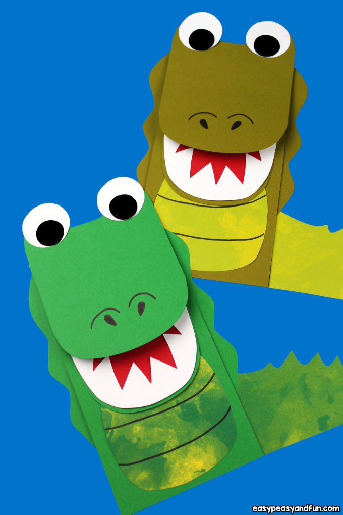 Alligator head clipart with a tongue sticking out png free Crocodile Paper Bag Puppet (with Template) - Easy Peasy and Fun png free