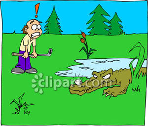 Alligator in water clipart jpg stock Cartoon Crocodile On A Golf Course - Royalty Free Clipart Picture jpg stock