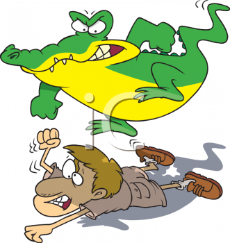 Alligator jumping clipart vector black and white stock Cartoon Clipart Picture Of An Alligator Jumping On A Zookeeper ... vector black and white stock