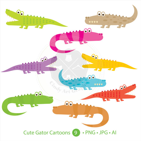 Alligator pattern clipart graphic freeuse download Cute Gator Cartoons Clipart,alligator clipart,digital download ... graphic freeuse download