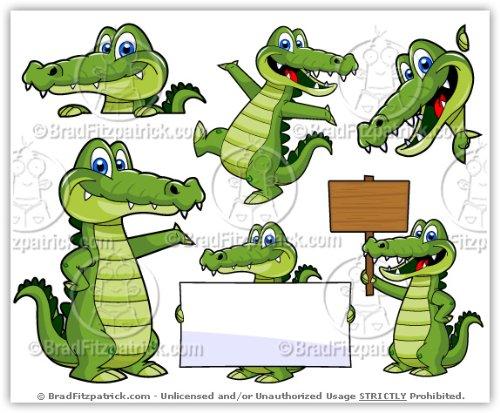Alligator shopping clipart clip royalty free Amazon.com: Cartoon Alligator Clip Art - Cute Alligator Mascot Stock ... clip royalty free