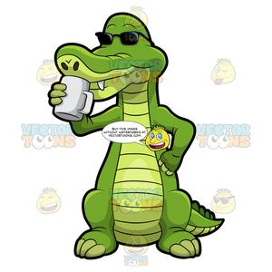 Alligator shopping clipart clip art freeuse download Arthur The Alligator Drinking Coffee clip art freeuse download