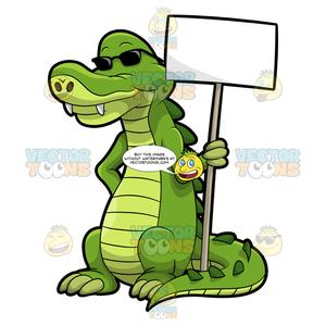 Alligator shopping clipart picture library library Arthur The Alligator Holding A Signboard picture library library