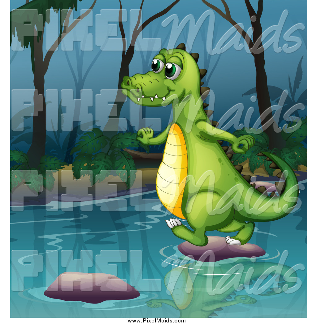 Alligators in rivers clipart without watermark image freeuse library Clipart of a Happy Alligator Using Stepping Stones on a River by ... image freeuse library
