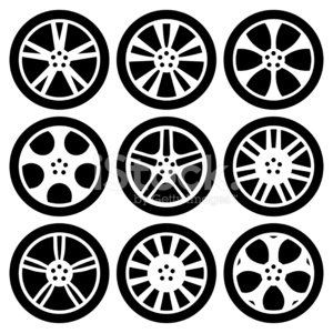 Alloy wheels clipart graphic Black Silhouettes Alloy Wheels premium clipart - ClipartLogo.com graphic