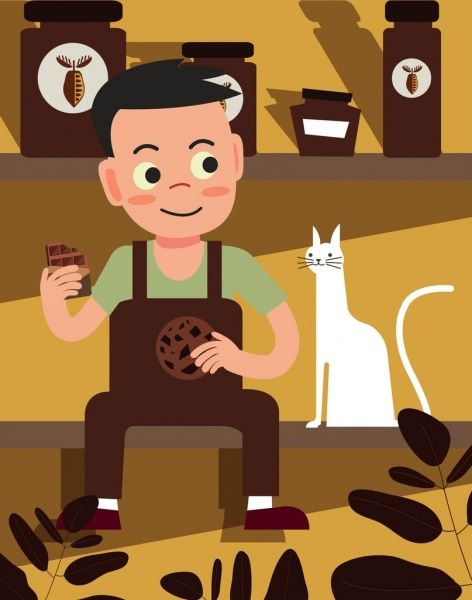 Alma fudge cartoon clipart black and white image black and white lifestyle drawing boy pet chocolate food icons | clip art | Food ... image black and white