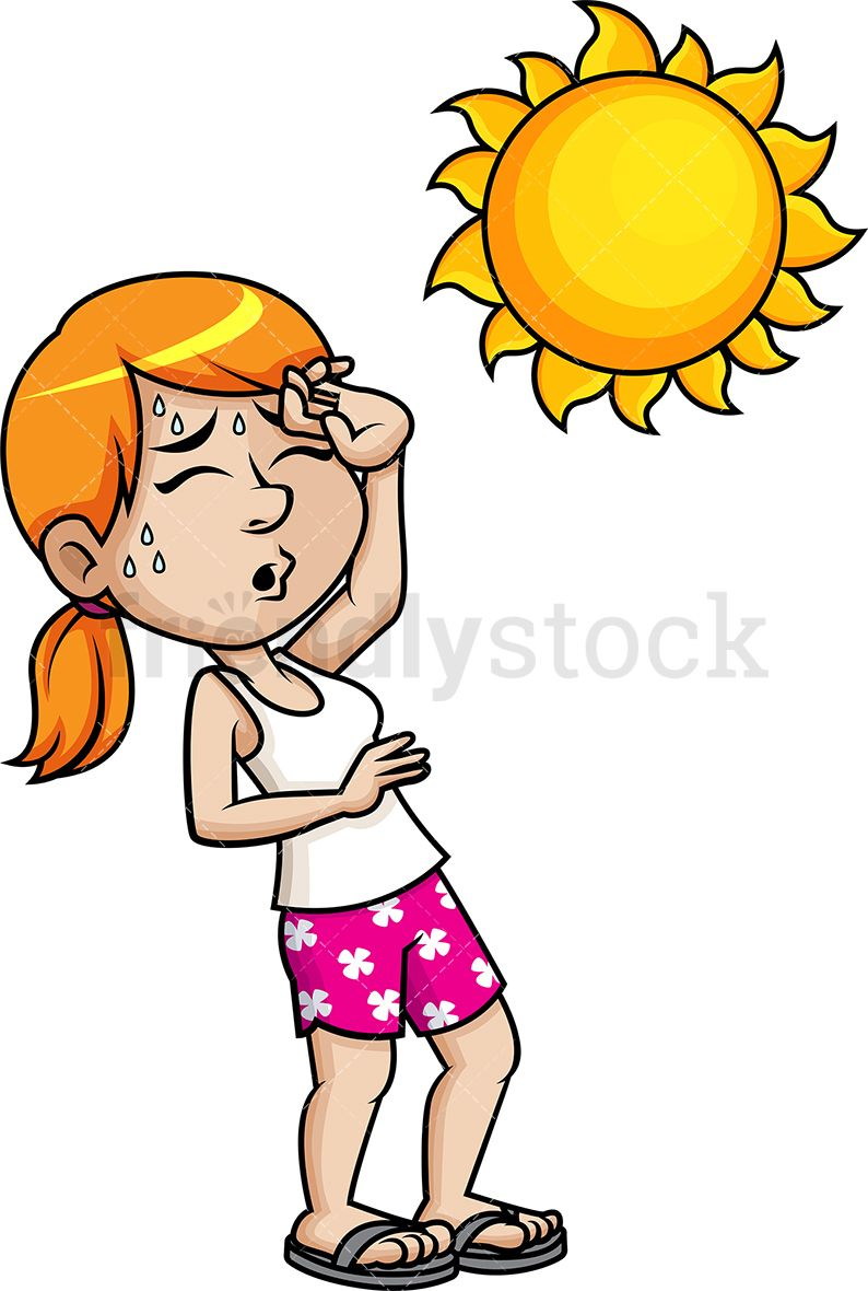 Sun sweating clipart graphic black and white library Woman Fainting From The Heat Cartoon Vector Clipart | Vector ... graphic black and white library