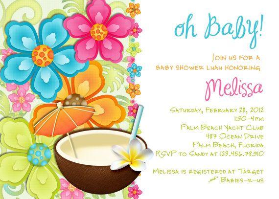 Aloha baby clipart vector black and white Luau Baby Shower Invitation Tropical Hawaiian Hula Party - Brunch ... vector black and white