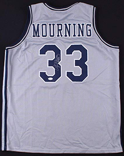 Alonzo mourning clipart banner black and white library Alonzo Mourning Autographed Signed Georgetown Hoyas Jersey - JSA ... banner black and white library