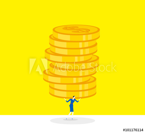 Alot on shoulders clipart banner royalty free Economic pressure / A business woman shoulders a lot of heavy coins ... banner royalty free