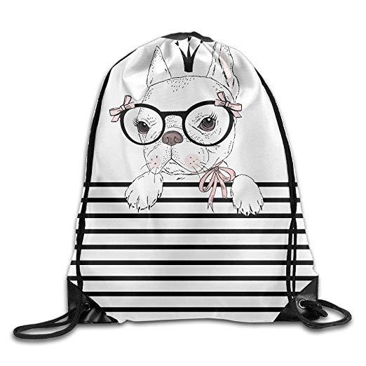 Alot on shoulders clipart stock Amazon.com   Cute French Bulldog Print Drawstring Backpack Rucksack ... stock