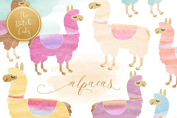 Alapca clipart png free library Watercolor Lama & Alpaca Clipart png free library