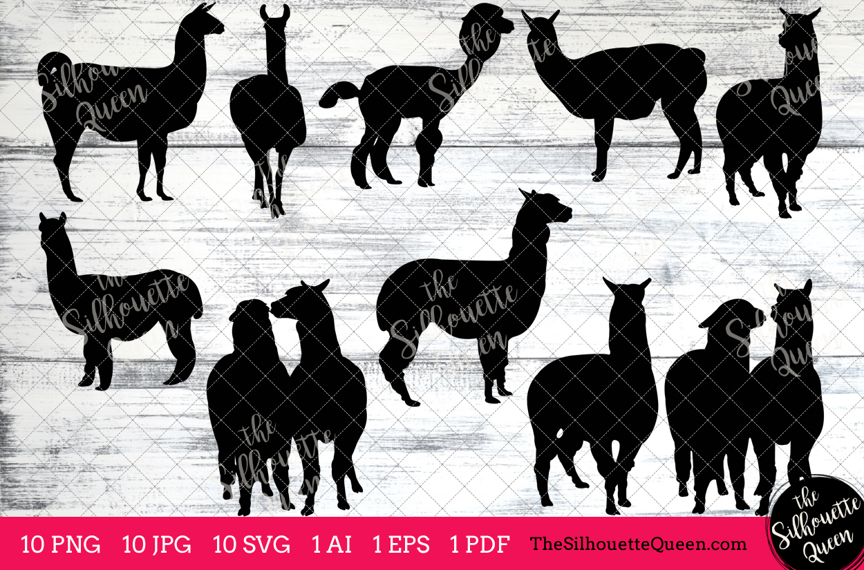 Alpaca silhouette clipart image black and white stock Alpaca Silhouette Clipart Clip Art(AI, EPS, SVGs, JPGs, PNGs, PDF), Alpaca  Clip Art Clipart Vectors - Commercial & Personal Use image black and white stock