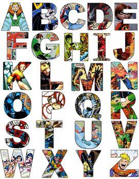 Alphabet baton clipart images banner free stock Superhero Alphabet Letters- Comics   Superhero classroom   Superhero ... banner free stock