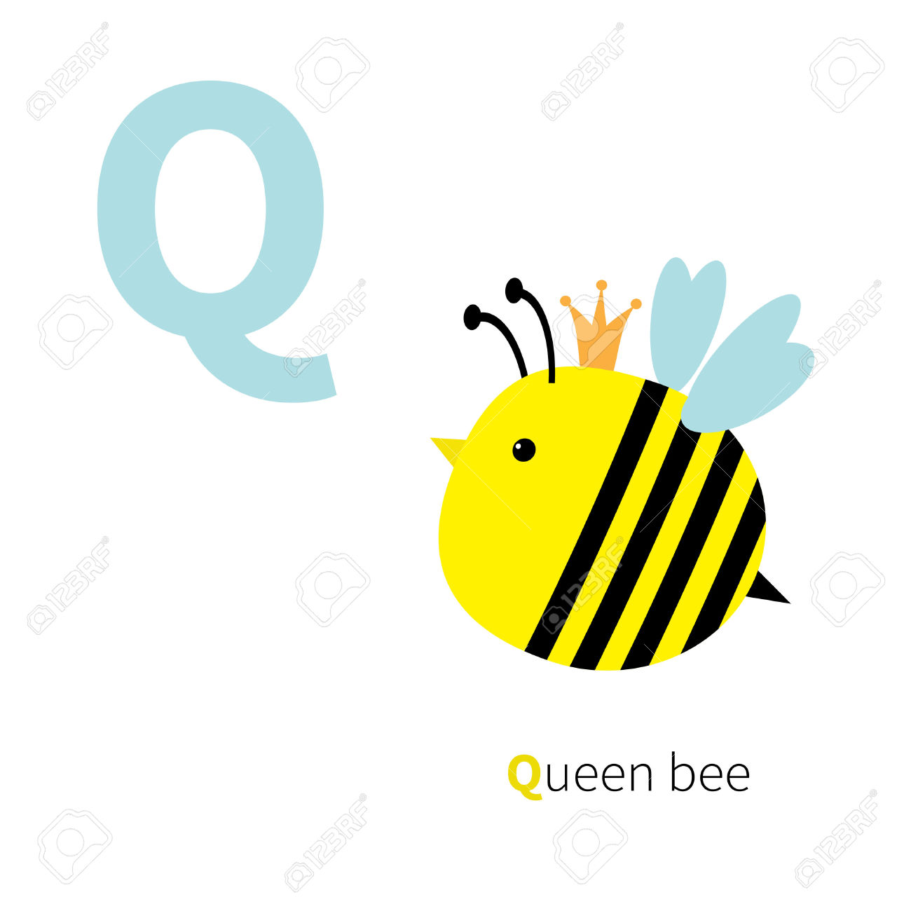 Alphabet bee abc clipart png royalty free library Letter Q Queen Bee Zoo Alphabet. English Abc With Animals ... png royalty free library