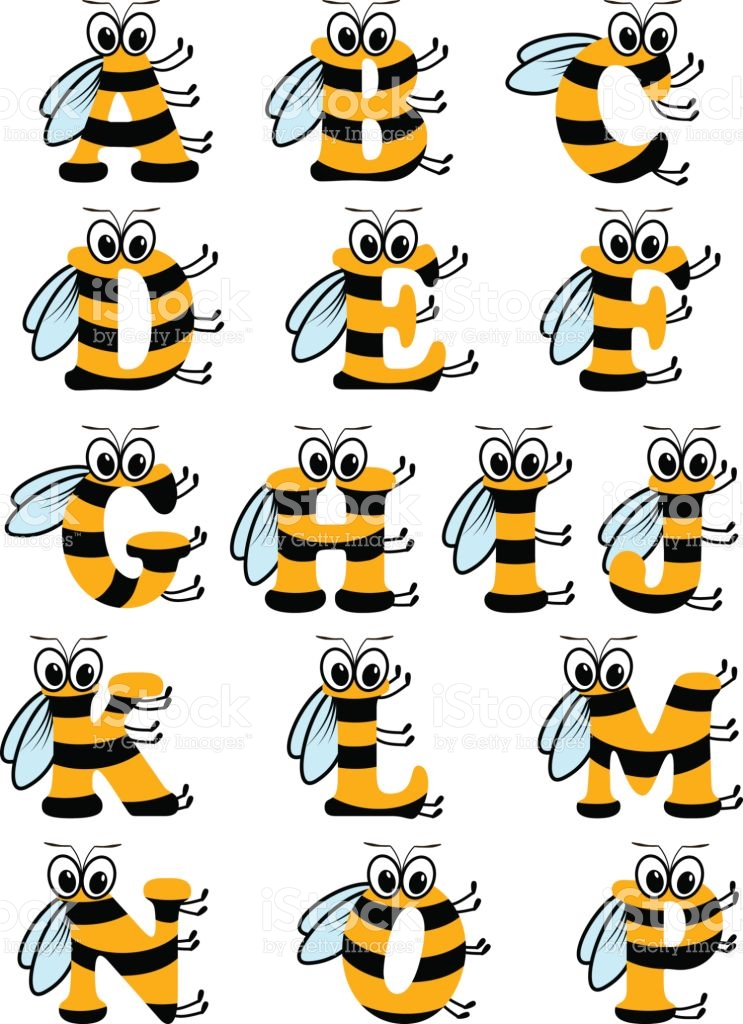 Alphabet bee abc clipart svg black and white stock Latin Alphabet Funny Bee Abc stock vector art 645698580 | iStock svg black and white stock