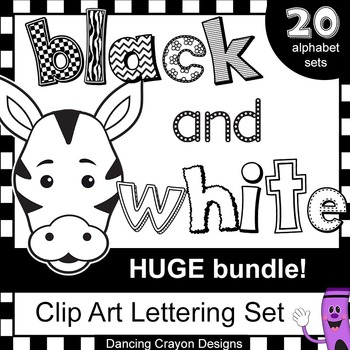Black and white letter clipart image royalty free download Alphabet Letters Clip Art - HUGE Black and White Alphabet Clipart BUNDLE image royalty free download