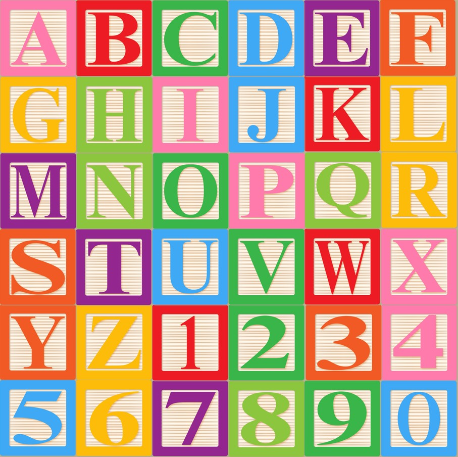 Letters kid baby blocks. Alphabet block clipart