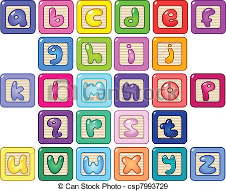 Alphabet block clipart. Blocks vector and illustration