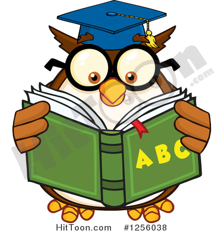 Alphabet book clip art clipart black and white download Owl Clipart #1256038: Wise Professor Owl Reading an Alphabet Book ... clipart black and white download