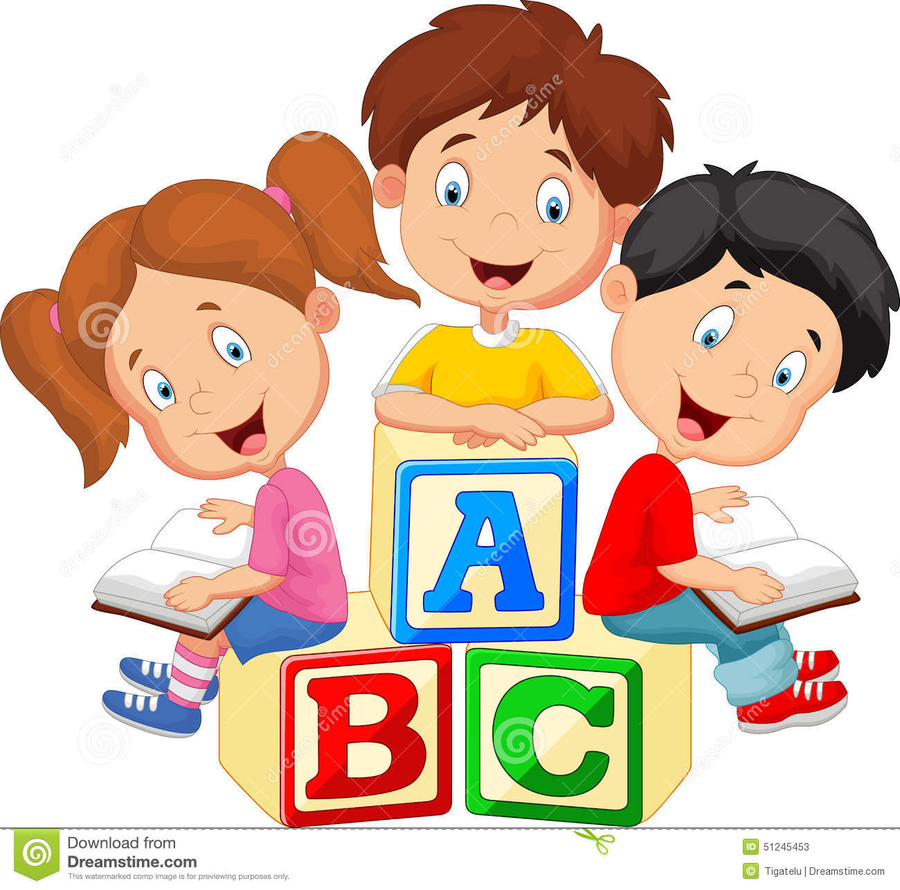 Alphabet book clip art image free download Children Cartoon Reading Book And Sitting On Alphabet Blocks Stock ... image free download