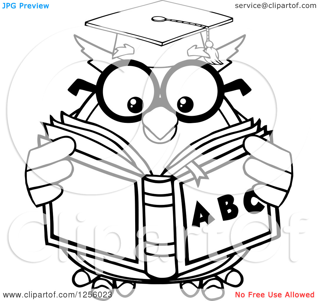 Alphabet book clip art image black and white library Clipart of a Black and White Wise Professor Owl Reading an ... image black and white library