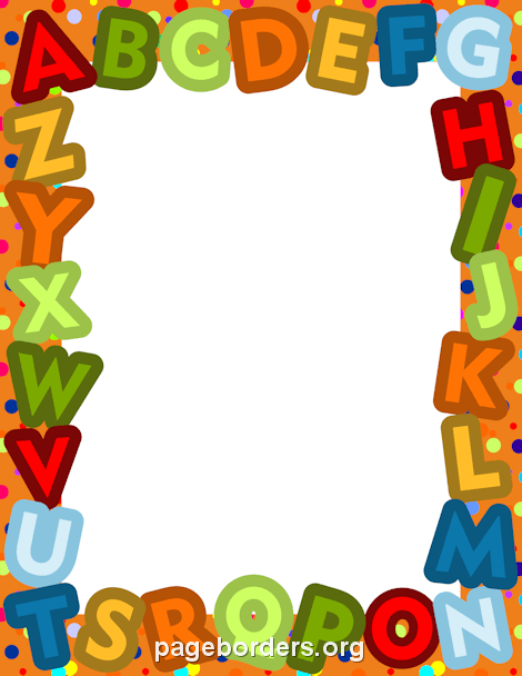 Page and vector graphics. Alphabet border clip art