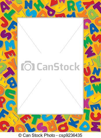 Alphabet border clipart jpg stock Clipart Vector of Alphabet Frame, Gold Background - Alphabet Frame ... jpg stock