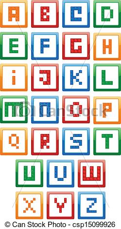 Alphabet building blocks clipart. Vector illustration of csp