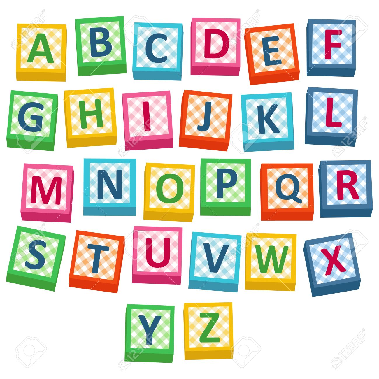 Alphabet building blocks clipart. English cubes illustration royalty