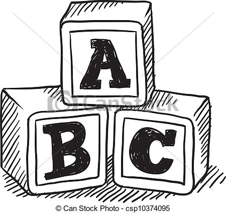 Alphabet building blocks clipart. Wooden block stock illustrations