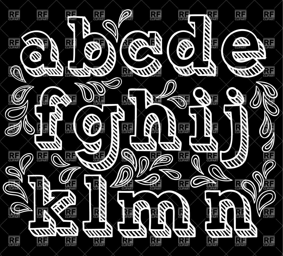 Alphabet chalk writing clipart banner library library Sketchy hand drawn font, shaded letters Vector Image – Vector ... banner library library