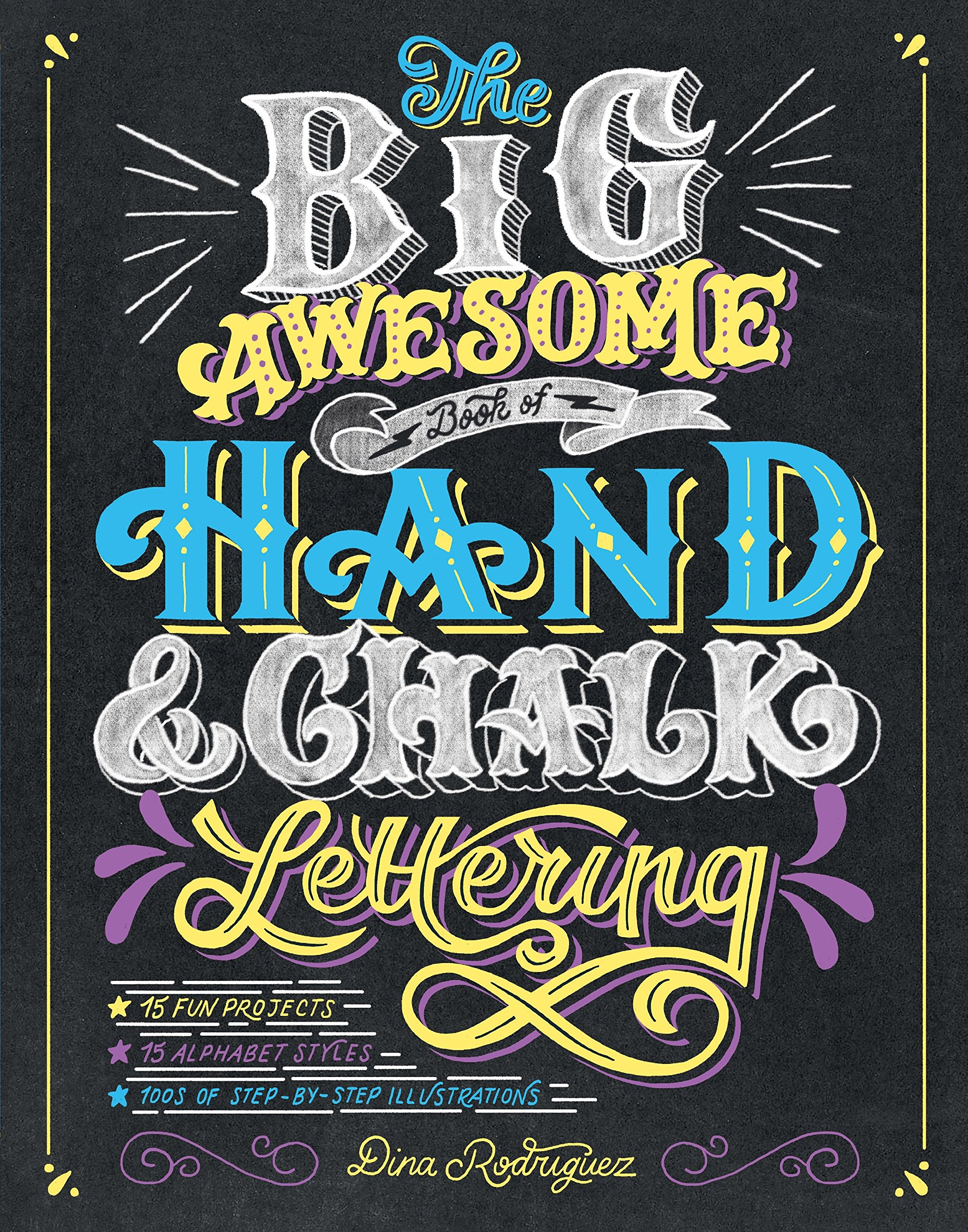 Alphabet chalk writing clipart stock The Big Awesome Book of Hand & Chalk Lettering: Dina Rodriguez ... stock