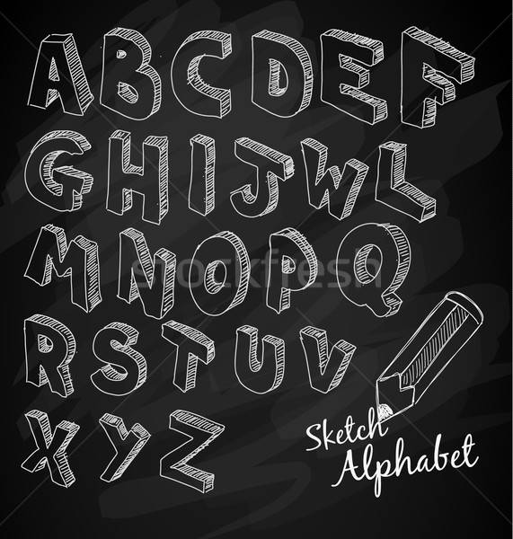 Alphabet chalk writing clipart svg royalty free Hand Drawn 3D sketch alphabet Over a chalkboard vector illustration ... svg royalty free