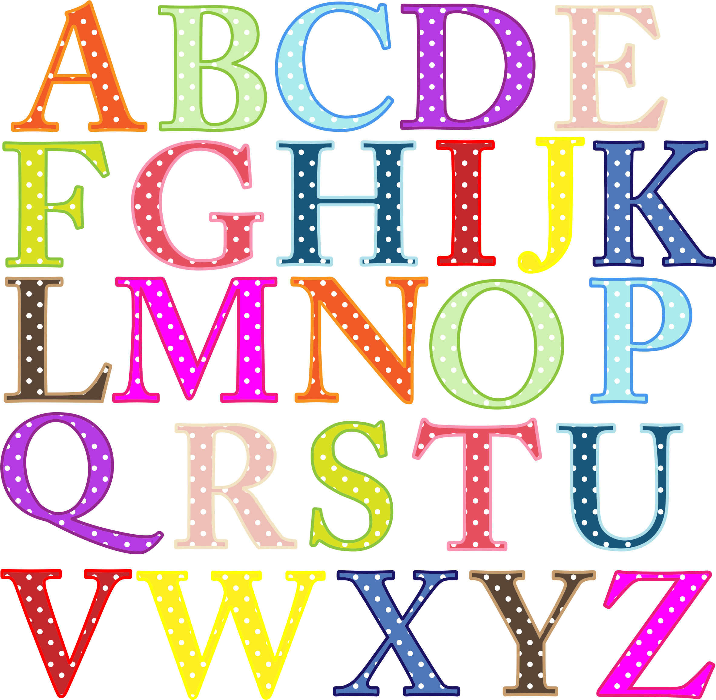 Lowercase letter clipart clipart free download Alphabet | Clipart - Colorful Alphabet Uppercase | ❖Fonts ... clipart free download