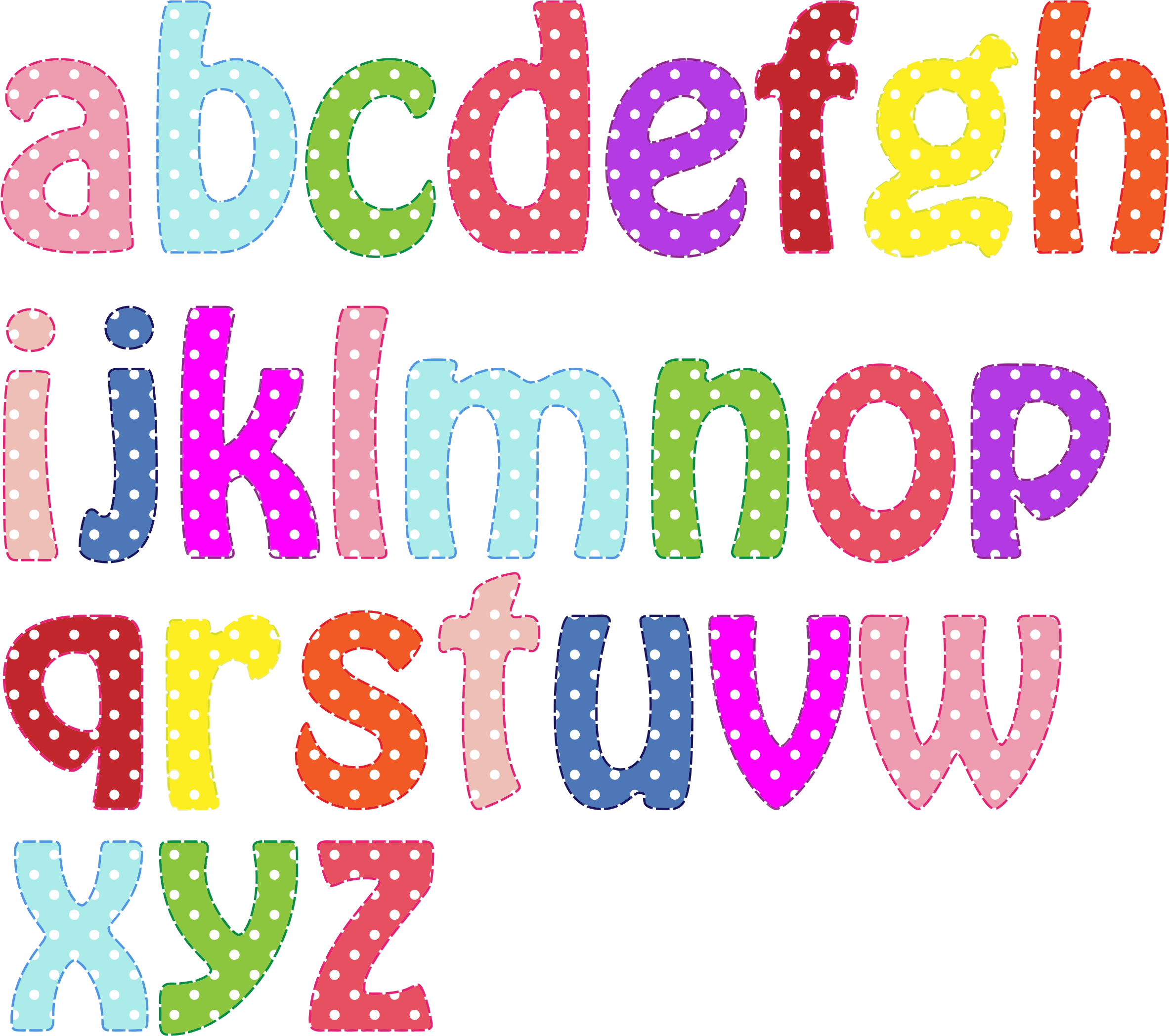 Alphabet cliparts svg black and white library Clipart - Colorful Alphabet Lowercase | letras | Pinterest | Polka ... svg black and white library