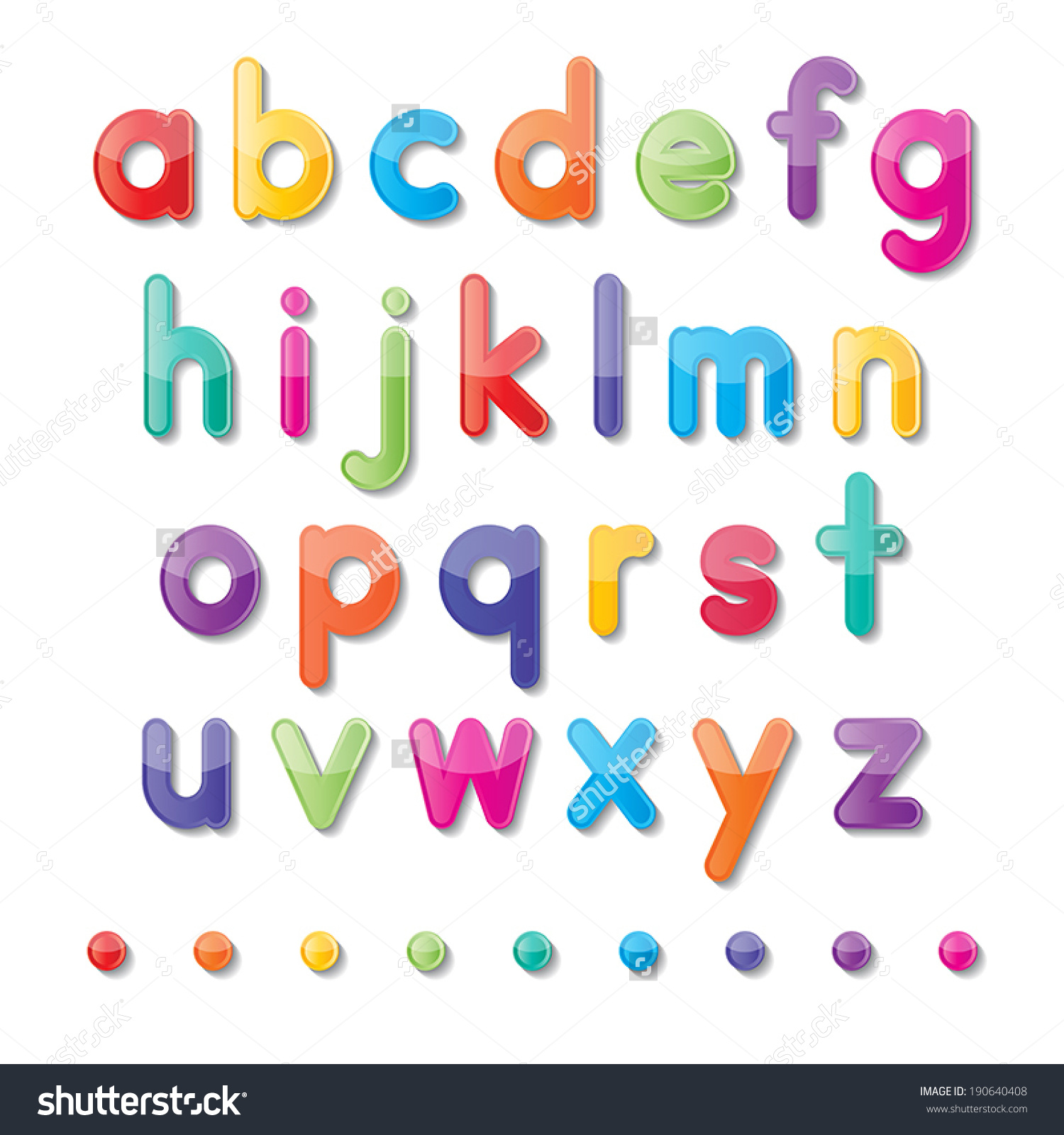 Colorful paper small letters. Alphabet clipart a z