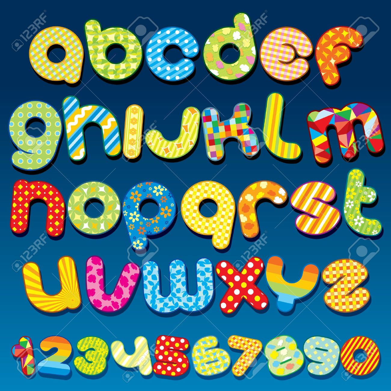 Alphabet clipart a z. Funky cartoon vector font