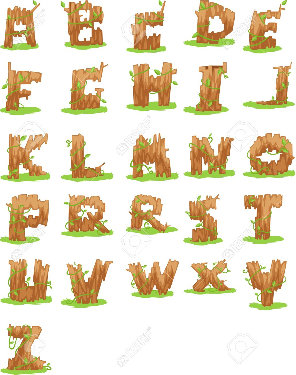Alphabet clipart a z clipart transparent stock Wood ALPHABET LETTER - A-Z Vector Royalty Free Cliparts, Vectors ... clipart transparent stock