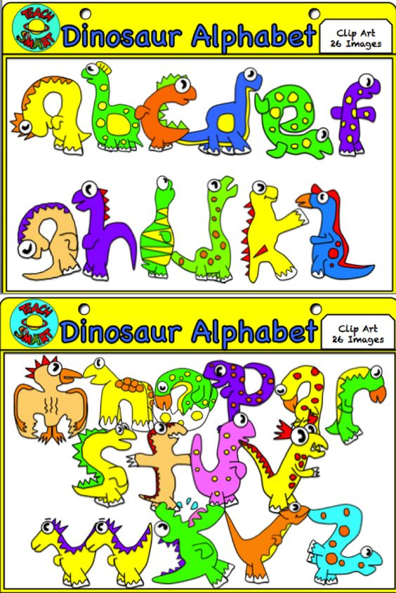 Alphabet clipart a z vector royalty free Dinosaur Alphabet A-Z Clip Art | Alphabet, Colors and Dinosaurs vector royalty free