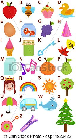 Vector illustration of to. Alphabet clipart a z