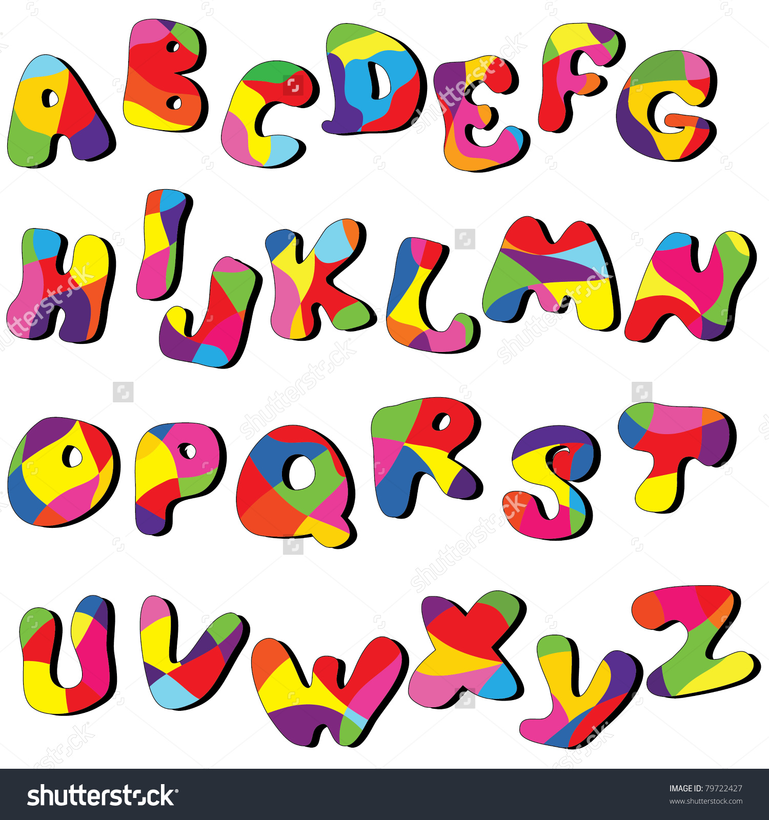 Alphabet clipart a z. Full cartoon vector clip