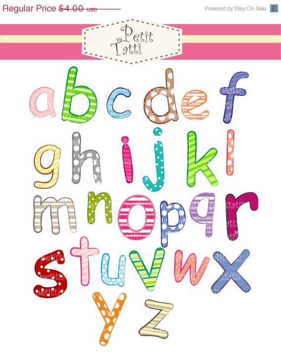 Alphabet clipart a z svg black and white library ON SALE letter clip art alphabet A-Z Digital clip art svg black and white library