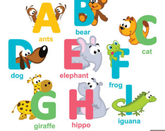 Alphabet clipart a z. Digital vegetable and fruit